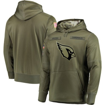 Men's Nike Arizona Cardinals Olive 2018 Salute to Service Sideline Therma Performance Pullover Hoodie -