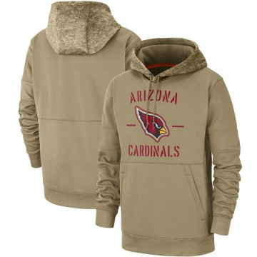 Men's Nike Arizona Cardinals Tan 2019 Salute to Service Sideline Therma Pullover Hoodie -