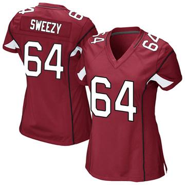 Women's Nike Arizona Cardinals J.R. Sweezy Cardinal Team Color Jersey - Game