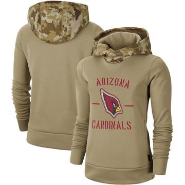 Women's Nike Arizona Cardinals Khaki 2019 Salute to Service Therma Pullover Hoodie -