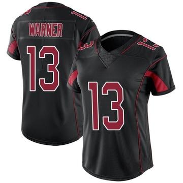 Women's Nike Arizona Cardinals Kurt Warner Black Color Rush Jersey - Limited