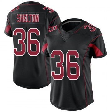 Women's Nike Arizona Cardinals Sojourn Shelton Black Color Rush Jersey - Limited