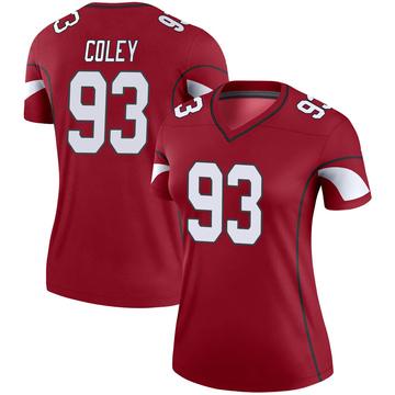 Women's Nike Arizona Cardinals Trevon Coley Cardinal Jersey - Legend