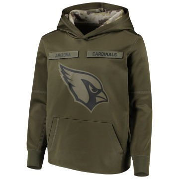 Youth Nike Arizona Cardinals Green 2018 Salute to Service Pullover Performance Hoodie -
