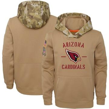 Youth Nike Arizona Cardinals Khaki 2019 Salute to Service Therma Pullover Hoodie -